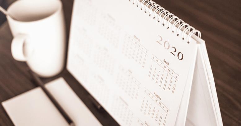 Calendario con fechas y días en inglés